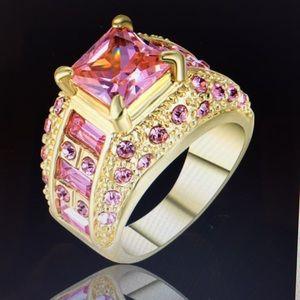 Princess cut pink sapphire gold rhodium plated SZ7